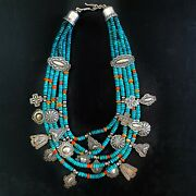 Don Lucas Multi Strand Turquoise Bead And Charm Necklace