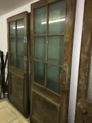 6 Partially Glazed Wooden Doors Including Some Fittings