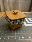 Longaberger 2003 Small Desktop Basket With Lid And Divided Protector