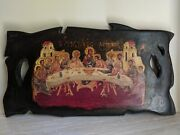 Large Handmade Icon From Greece The Last Supper On Solid Wood 32x60cm