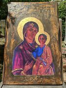 Large Handmade Icon From Greece Virgin Mary And Jesus Christ, 60x40cm