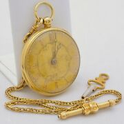 Pocket 18 Kt Gold Vintage Gold Chain And Dial Manual Key Wind Serviced