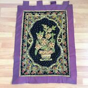 Wall Hanging Fabric Tapestry Zodiac Vintage Thai Burmese Embroidered Flower