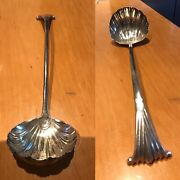 Antique 18th C Rare Solid Silver Shell Bowl Punch Ladle London By John Lampfert