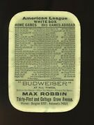 1913 Chicago Cubs And White Sox Budweiser Baseball Schedule