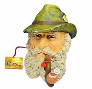 Bosson Chalkware Legend Bust Face Figurine Sculpture 1972 Tyrolean Imagical Pipe