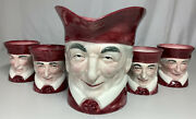 Vintage Authentic Handcrafted Kasuga Ware Toby Pitcher And 4 Mug Set