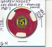 5 Casino Chip Golden Nugget And039rooming Houseand039 Lv Nv 1960and039s G-n N1718 Rare/nice