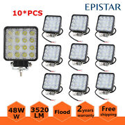 10x 4inch 48w Led Work Light Boat Truck 4wd Trailers Suv Ute Driving Flood Lamp