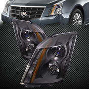 For 2008-2014 Cadillac Cts Headlights Set Black Housing Halogen Left Right Set