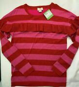 Nwt Kate Spade Girls 14 Holiday Red And Pink Striped Metallic Knit Sweater 68