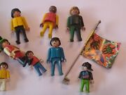 Old Playmobil Action Figures 12 + Flag 1974 To 1990 Plastic Toys People Action