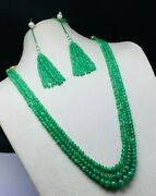 Emerald Smooth Rondelle Shape Beaded Necklace Beautiful Deep Green Color Beads