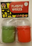 Vintage Plastic Wares Tooth Pick Holders Red And Green