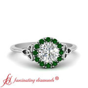 Celtic Halo Engagement Ring With 0.60 Ctw Round Cut Lab Made Diamond And Emerald