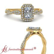 .75 Carat Radiant Cut Lab Made Diamond Halo Vine Engagement Ring In Yellow Gold
