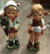 """Wales """"jack And Jill"""" Figurine Holding Umbrella And Water Can Made In Japan 9"""""""