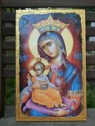 Large Handmade Icon From Greece Greek Orthodox, Virgin Mary With Jesus 40x25 Cm
