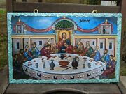 Large Handmade Icon From Greece Greek Orthodox, The Last Supper 25x40 Cm