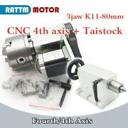【eu】k11-80mm 3 Jaw Chuck Rotary A Axis 4th Axis + 65mm Tailstock For Cnc Router