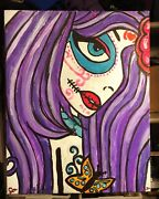 Day Of The Dead Painting Art Candy Skull Girl Original 16x20andrdquoandnbsp