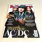 Ac/dc Angus Malcolm Brian Signed Autographed Rolling Stone Magazine Coa A26251