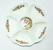 Aynsley 6 Section Hors Dand039oeuvre Fine English Bone China Dish Cottage Garden