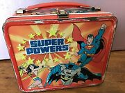 Vintage 1983 Dc Super Powers Aladdin Metal Lunchbox Superman With Thermos