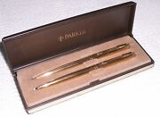 Parker Classic Imperial Set Gold Ballpoint Pen And 0.5 Pencil New In Box