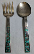 David Anderson D-a Norway Sterling Silver 0.925 Fine - Green Enamel Fork And Spoon