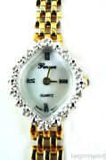 14k Solid Gold Case Back Band Diamond Geneve Panther Link Band Womens Watch 125