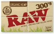Raw Organic Hemp 1 1/4 300's Rolling Papers Cigarette Papers Pack Of 40 Booklets