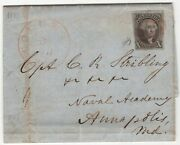 2 Cover On Letter To Captain C.k. Stribling 19th Century Naval Hero Gd 6/18