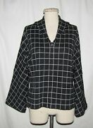 St John Collection Black And White Checkered Pattern Novelty Knit Zip Front Jkt 8