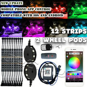 14x Motorcycle Led Light Kit Strips Multi-color Accent Underglow Neon Wheel Pod