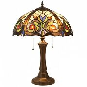Style Dark Bronze Finish Table Lamp With Stained Glass Dome Shade
