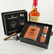 1-8 Groomsman Personalised Engraved Leather Black Silver Hip Flask Shot Glass
