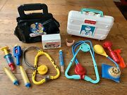 Vintage 1987 Fisher Price Medical Bag And 1997 Doctor Case Toy Lot W/extras 2010
