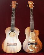 Birds And Floral Real Mop Inlay A Couple Solid Acacia Ukulele Tenor Handmade Ukc25