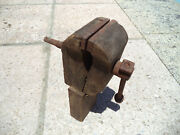 Curious 19th Century Antique Wood Bench Vice Vise