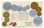 Norway Norwegian Coins On German Ad Postcard Ca. 1906 Rare Mint Condition