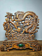 Collectibles Natural Boxwood Figurine Carved Dragon Mini Screen Statue Md141