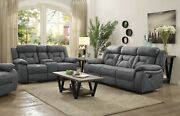 Stone Grey Faux Suede Reclining Sofa And Love Seat Living Room Furniture Set