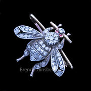 Antique Victorian Brooch 14k Gold Silver Diamonds Rubies Bee / Fly Insect 6883