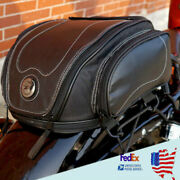 Motorcycle Retro Leather Back Seat Bags W/rain Cover Elastic Rope Strap Kit Us