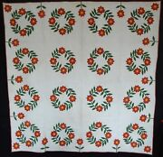 Applique 1860 Presidentand039s Wreath Pittsburgh Pa Antique Quilt