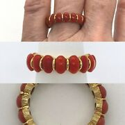 Red Coral 18k Yellow Gold Eternity Wedding Band Stackable Ring 6.5