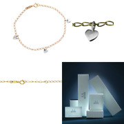 Miore Childrenand039s 18ct Yellow Gold Chain Bracelet White Gold Heart Charms 16cm Uk