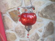 Vtg Moroccan Hanging Candle Holder Ornate Metal Crafting Jeweled Red Globe Nice