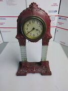 Antique Mantle Clock Brass/steel Glass Made In Germany Tower Columns